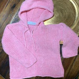 Hand knit pink hoodie